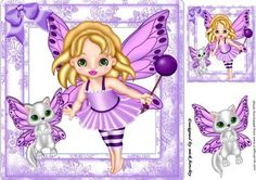 Cute faerie in lilac with her faerie kitty 8x8 on Craftsuprint - Add To Basket!