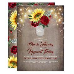 Sunflower and Burgundy Rose Mason Jar Fall Wedding Invitation Fall Birthday Invitations, Mason Jar Wedding Invitations, Sunflower Wedding Invitations, Wedding Invitation Cards, Bridal Shower Invitations, Sunflower Weddings, Party Invitations, Wedding Stationery, Invitation Wording