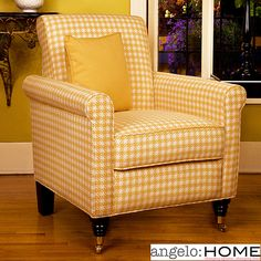 How Charming! Harlow Arm Chair Yellow And White Check.