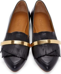 Chloé: Black Fringed Leather Loafers