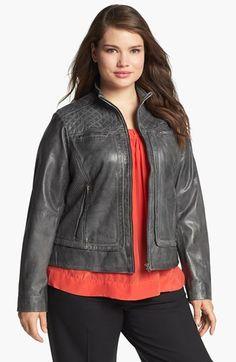 Bernardo Quilt Trim Leather Scuba Jacket (Plus Size) available at #Nordstrom