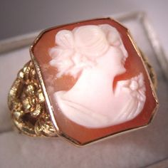 Antique+Cameo+Ring+Vintage+Art+Nouveau+Deco+by+AawsombleiJewelry,+$695.00