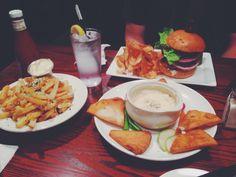 Two Stones Pub Crab Brie fondue Truffle fries Double stack burger