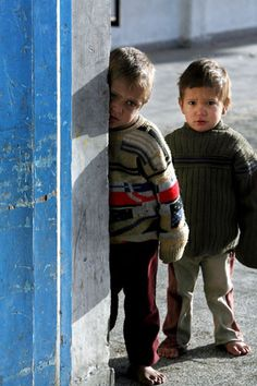 Credit: Mohammed Saber/EPA 7 January: Palestinian children are seen at the United Nations school where their families took shelter following Israeli strikes, in the refugee camp of Jabaliya