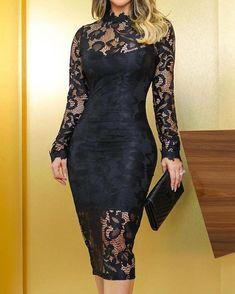 Oco Out Lace Overlay vestido Bodycon Trend Fashion, Womens Fashion, Pencil Dress Outfit, Style Noir, Lace Overlay, Sleeve Styles, Plus Size Outfits, Ideias Fashion, Fashion Dresses