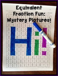 Equivalent Fractions Fun! Students color equivalent fractions a certain color, and other fun fraction activities! $