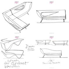 Karim Rashid's sketches of a sofa he designed for Offecct back in 1999