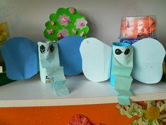 Slon z rolky od toaletného papiera.