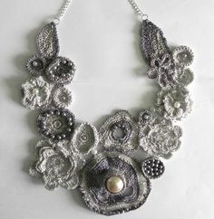 Crochet lace flower necklace