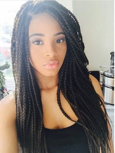 • BOX BRAIDS • Braided Beauty • Protective Styles • Extensions • Singles • Braids #Makeup #Eyelashes #BoxBraids