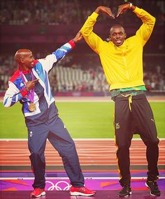 Gold medalists Mohamed Farah of Great Britain, left, and Usain Bolt of Jamaica pose on the podium on Day 15 of the London 2012 Olympic Games, Saturday, Aug. Farah won the race while Bolt won the relay and set a new world record on Saturda Usain Bolt Olympics, Nbc Olympics, 2012 Summer Olympics, Mo Farah, Team Gb, Fastest Man, Olympic Athletes, Track And Field, Curves