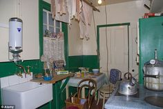 1940s: A 1940s kitchen in the Castle Museum in York shows how washing and cooking collided in a relatively small space
