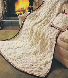 Aran Quick Cable Knit Afghan Knitting Pattern - Instant Download PDF - Fisherman Knit