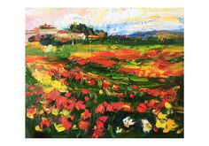 Field of Poppies and Yellow Daisies  Original Abstract Art