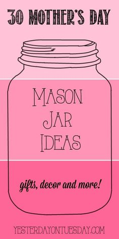 30 Mason Jar Ideas for Mother's Day including crafts, gifts, decor and more for Mom and Grandma. 30 Mason Jar Ideas for Mother's Day including crafts, gifts, decor and more for Mom and Grandma. Mothers Day Crafts For Kids, Diy Mothers Day Gifts, Gifts For Kids, Mom Gifts, Gifts For Grandma, Mothers Day Ideas, Grandma Crafts, Mothers Day Gifts From Daughter, Mom And Grandma