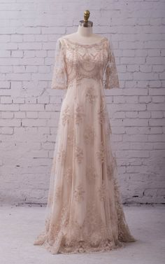 Lace Wedding Gown Wedding Dress with sleeves, buttons up back and train. vintage style, boho classic and simple. Katrina gown Lace Wedding Gown Wedding Dress with sleeves buttons up back Vintage Style Wedding Dresses, Western Wedding Dresses, Lace Wedding Dress, Wedding Gowns With Sleeves, Classic Wedding Dress, Vintage Dresses, Dresses With Sleeves, Wedding Dress Buttons, Western Weddings