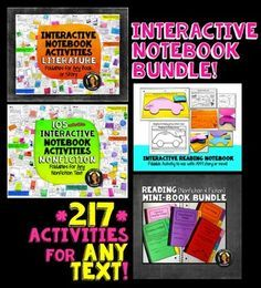 Interactive Reading Notebook Fiction and Nonfiction Mega Bundle (Grades 5-12)A YEAR'S WORTH: 220 Common-Core aligned interactive reading foldable activities for secondary students. You do not have to use the Common Core State Standards to utilize this bundle!