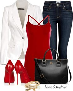 """White and Red"" by denise-schmeltzer ❤ liked on Polyvore"