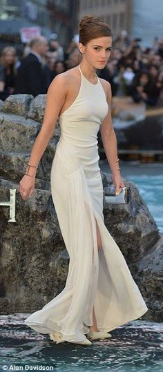 Fashion moment: Emma's sexy long gown was by Ralph Lauren and it clung to her