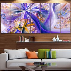 Designart 'Purple Fractal Curves' Abstract Wall Art Canvas Print