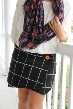 How to turn any pair of shorts into a skort, with an asymmetrical wrap front. An easy refashion for the beginner level seamstress.
