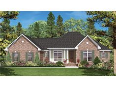 Home Plan HOMEPW77579 is a gorgeous 1600 sq ft, 1 story, 3 bedroom, 2 bathroom plan influenced by  Ranch  style architecture.