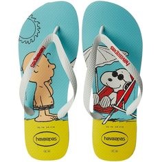 Havaianas Snoopy Flip Flops (White/White) Men's Sandals (69 BRL) ❤ liked on… More