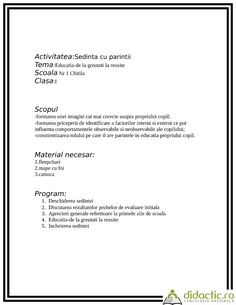 Scenariu didactic pentru o sedinta cu parintii | nataliarotaru81 | 08.01.2008 Geography
