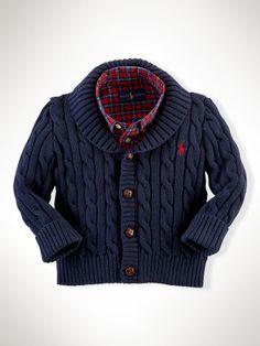 Cotton Shawl-Collar Cardigan - Infant Boys Sweaters - RalphLauren.com