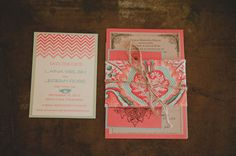 Hot coral and aqua wedding invitations with a fabric belly band Gipsy Wedding, Aqua Wedding, Wedding Pins, Green Wedding Shoes, Wedding Wishes, Wedding Trends, Wedding Blog, Wedding Ideas, Wedding Invitation Design