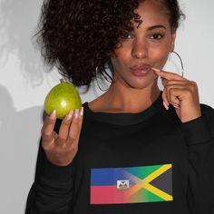 Haitian and Jamaica Mixed Heritage Flag Sweatshirt - XL