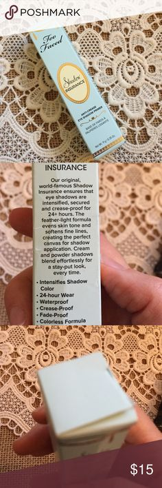 Too Faced shadow insurance (eye shadow primer) NWOT. Purchased but I already have enough. I use this product all the time and love it! Anti-crease eye shadow primer. Top of box slightly creased. Too Faced Makeup Eye Primer