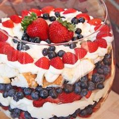 Red, White and Blue Trifle on BigOven: Fresh blueberries and strawberries paired with a light cheesecake flavor make this Red, White, and Blue Trifle recipe the perfect Summer Dessert.