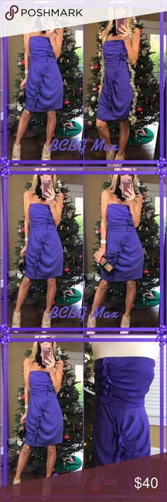 """💙Bcbg💙 Another New Year perfection, this strapless purple ruffled dress is sleek sexy and ready to ring in """"17"""". May need pressing as been packed otherwise gorgeous. BCBGMaxAzria Dresses Midi"""