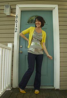 https://flic.kr/p/9CTcR9   29 April 2011 - Happy Last Day of Classes   Sequin sweater: DKNY via Beacon's Closet Cardigan: Ann Taylor Loft Outlet Jeans: Old Navy Maternity Shoes: AM via DSW  www.academichic.com