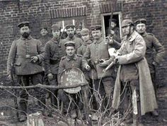 British and German soldiers mixing during the Christmas truce of 1914
