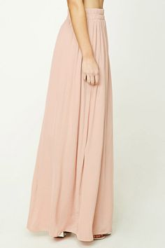 Forever 21 Contemporary - A crinkled satin maxi skirt featuring an elasticized waist.