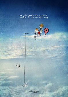 Letter - 'We will meet at a place, which is not on the Map' Couple Illustration, Illustration Art, Painting Love Couple, Love Cartoon Couple, Imagination Art, Art Prints Quotes, Love Drawings, Love Images, Cartoon Wallpaper