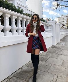 plaid skirt over the knee boots black boots red coat white sweater turtlen. skirt plaid skirt over the knee boots black boots red coat white sweater turtlen. Cute Casual Back To School Outfits for high school Girls Paris Outfits, Winter Fashion Outfits, Mode Outfits, Fall Winter Outfits, Holiday Outfits, Autumn Fashion, Night Outfits, Paris Winter Fashion, Fashion Ideas