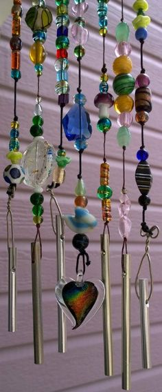 Glass Beaded and Charmed Wind Chime van TheCrimsonDynamo op Etsy