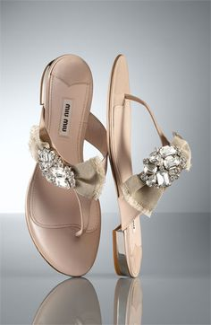 Miu Miu Crystal Bow Thong Sandal- ooh la la! I love these!