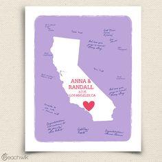 Wedding Guest book   California State Art Print  by peachwik, $30.00