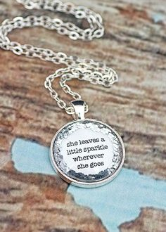 She Leaves A Little Sparkle Glitter Quote by KitschyKooDesign, $15.00