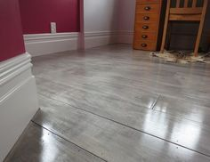 gray painted plywood plank floors I am so doing this...replacing my carpet over the concrete floor in my home gym.: