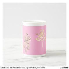 Gold Leaf on Pink Bone China Mug Coffee Cups, Tea Cups, Porcelain Mugs, Kitchen Dishes, China Mugs, Candy Jars, Custom Mugs, Dog Design, Gold Leaf