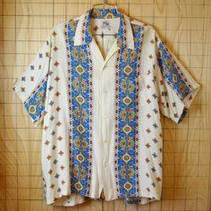 【KAHANAMOKU】50s古着ビンテージハワイアンボーダー総柄ハワイアン・アロハシャツ