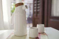 Flux set, ceramic jar and cups von tánata cerámica·madrid auf DaWanda.com