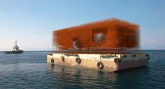 fabricated from over 30 tons of steel, the floating pavilion, which was built on an existing barge, experienced structural problems and never made it to its final destination of venice.