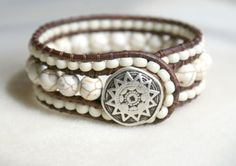 Beaded leather cuff bracelet, White Howlite bohemian beaded distressed leather wrap cottage boho shabby chic trendy jewelry, rustic