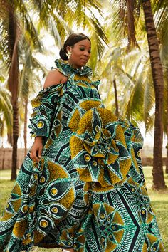 African fashion created with Vlisco fabrics - Women's style: Patterns of sustainability African Maxi Dresses, African Fashion Ankara, African Inspired Fashion, Latest African Fashion Dresses, African Print Fashion, African Attire, African Wear, African Women, African Prints